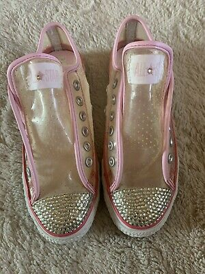 Converse All Star Transparant And Pink Swarovski Crystal Size 5 • 18£
