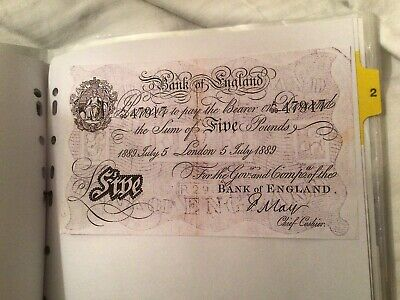 Reproduction White Five Pound Note Various Dates Sign By May,peppiatt,beale. • 5£