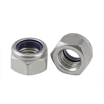 $4.95 • Buy M2 M3 M4-M12 A4 Stainless Steel Nylon Insert Lock Nut 316 Nylock Hex Nuts DIN985