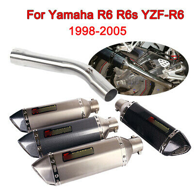 $106.80 • Buy For Yamaha R6 R6s YZF-R6 1998-2005 Motorcycle 51mm Exhaust Muffler Mid Link Pipe