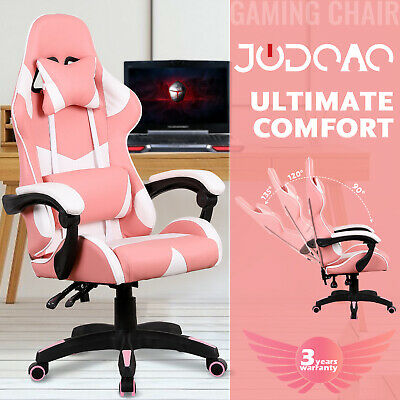 AU139.90 • Buy Racer Computer Gaming Office Chair Executive Recliner PU Leather Seating Pink