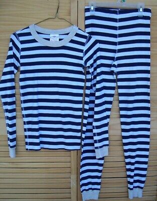 $24.95 • Buy HANNA ANDERSSON Long Sleeved Navy Striped Pajamas Set~size 150~US 12~long Johns~
