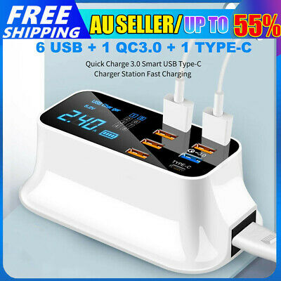 AU39.89 • Buy 8 Ports Multi USB Charging Station QC 3.0 Type-C Desktop Phone Charger Dock Hub