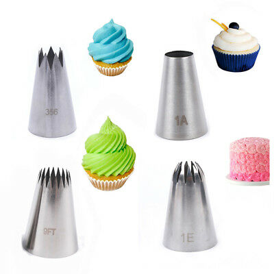 1/4x Large Icing Piping Nozzle Russian Pastry Tips Baking Mold Cake Decoration • 4.32£