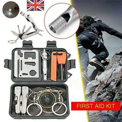 9 In 1 Outdoor Emergency Equipment SOS Kit Camping Hiking First Aid Box Set UK • 10.99£