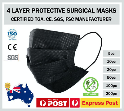 AU16.50 • Buy 20 Pcs Unisex Black Face Covering 4 Ply Located In Melbourne