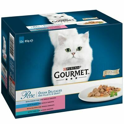 Gourmet Cat Food Perle Ocean Delicacies Mini Fillets In Gravy Pouches • 10.75£