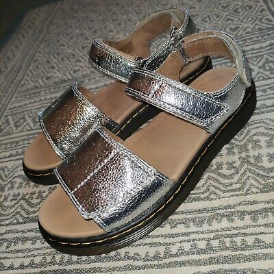 New Without Box Dr Martens Romi Women's/Girls Silver Metallic Crinkle Sandals UK • 39.99£