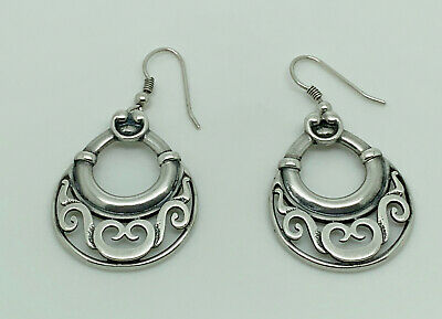 OLA GORIE Vintage Orkney Sterling Silver Detailed Celtic Statement Drop Earrings • 99.99£