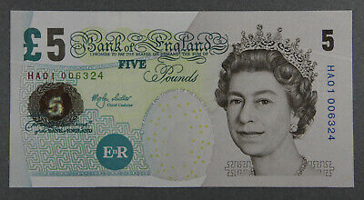 A/UNC-UNC FIRST RUN LOWTHER £5.00 FIVE POUND NOTE HA01 006324, Dugg. Ref. B393 • 34.50£