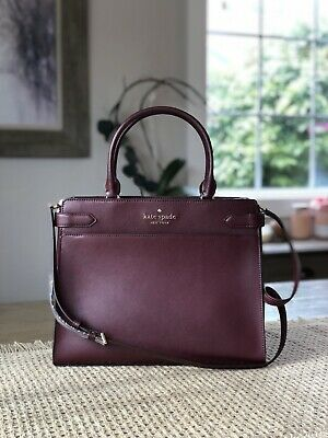 $ CDN208.82 • Buy Kate Spade Staci Large Satchel Shoulder Tote Bag Cherrywood Wine Merlot Leather