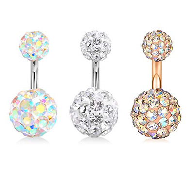 Incaton 3PCS Short Bar Belly Button Rings Surgical Steel Crystal Ball Navel 14 • 3.80£