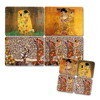 £14.95 • Buy 8pc Gustav Klimt Cork Backed Art Themed Coasters And Placemats Heat Resistant