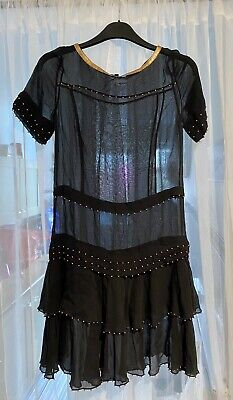 M&S Limited Collection Black 100% Silk Over-dress, UK 8 • 3.90£