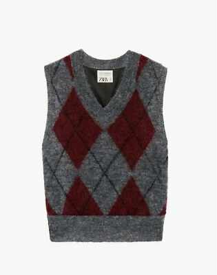 Zara Limited Edition Argyle Knit Vest, Size M, SOLD OUT EVERYWHERE • 34.99£