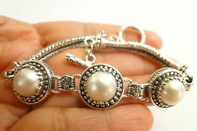 $189 • Buy White Mabe Pearl Three Stone Ornate Statement 925 Sterling Silver Bracelet