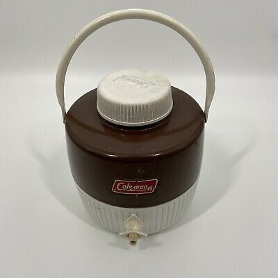 $29.97 • Buy Vtg Coleman Jug Cooler Brown 1 Gallon Water Dispenser Thermos Camping Drink Cup