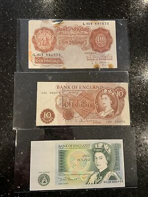 Old Bank Of England One Pound Note £1and Two Ten Old Ten 10 Shilling Notes • 12£