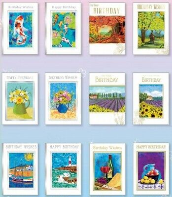 £5.99 • Buy 12 X Fine Art Birthday Cards, Male,Female Open Greeting, Multi Pack,for Her, Him