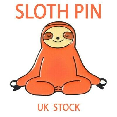 Meditating Yoga Chilling Sloth Animal Enamel Pin Badge Brooch Bag Accessories UK • 3.49£