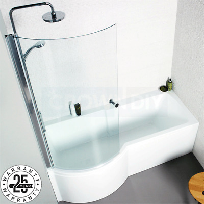 P Shape Acrylic Shower Bath 1700mm Screen Panels White Clear Glass Shower Screen • 164.75£