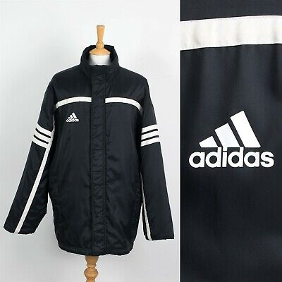 $ CDN28.69 • Buy Mens Vintage Adidas Padded Coat Jacket Black Football Manager Coach 2xl Xxl