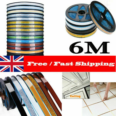 6M 8mm Ceramic Tile Mildewproof Gap Tape Adhesive Ceiling Edge Deco Trim Strips • 5.99£