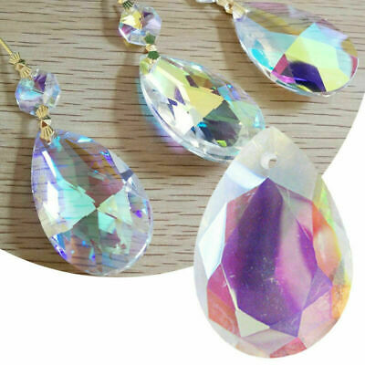 £2.32 • Buy 10Pcs Clear Glass Crystals Beads Chandelier Light Parts Prisms Droplets Drops