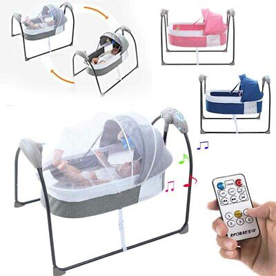 £75.01 • Buy Portable Electric Bluetooth Baby Swing Cradle Bassinet Rocking Crib Infant Bed