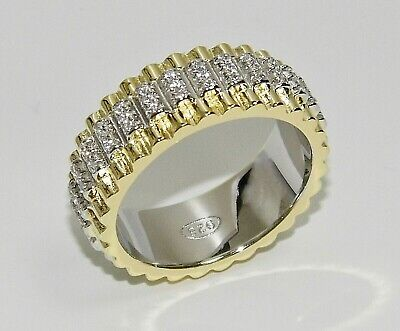 9ct Yellow Gold On Silver Heavy Rolex Band Ring - ALL SIZES - Men's Or Ladies • 49.95£