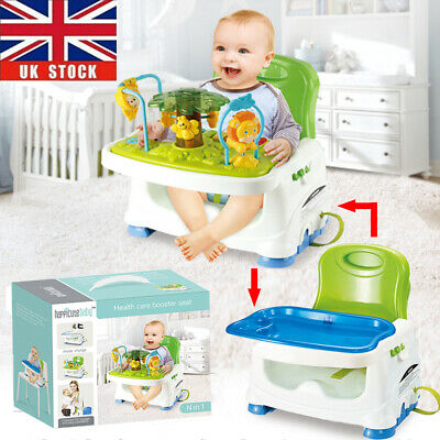 Travel Feeding Booster Seat Baby Highchair Portable Activity Play Table W/ Tray • 39.95£