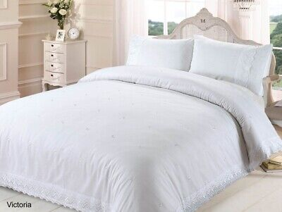 Victoria Double Duvet Quilt Cover Lace Broderie Embroidered Bedding Set - White • 30.95£