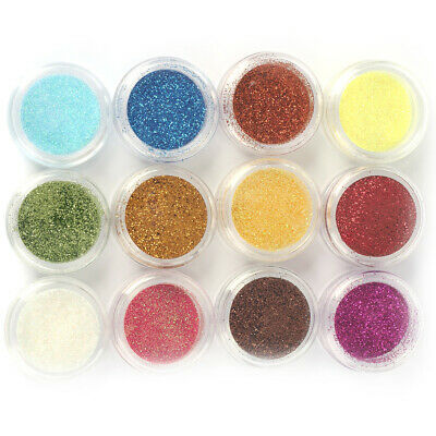 12 Colours Glitter Dust Powder Set 1 - Nail Art Tips Decoration Crafts DIY Gift • 2.63£