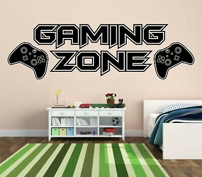 £6.65 • Buy Gaming Zone Wall Stickers Xbox One Controller Gamer Vinyl Decals Kids Bedroom