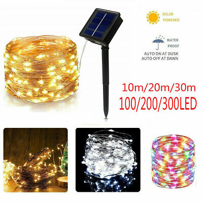 200LED Solar String Lights Waterproof Copper Wire Fairy Garden Outdoor Party UK@ • 5.99£