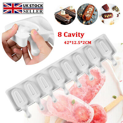 £5.79 • Buy 8 Cell Frozen Ice Cream Pop Mold Popsicle Maker Lolly Cake Mould Tray Kitchen UK
