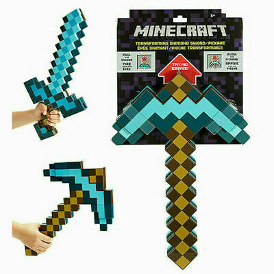 AU42.99 • Buy Minecraft Games Transforming Diamond Sword & Pickaxe PVC Toys Gift Role Play AU