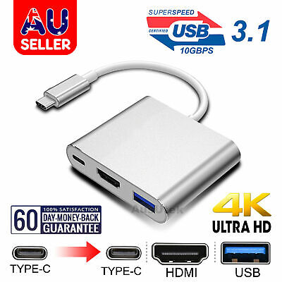 AU13.75 • Buy 3 In 1 Type-C USB-C To Female HUB HD HDMI Data Charging Cable Adapter Mac Pro