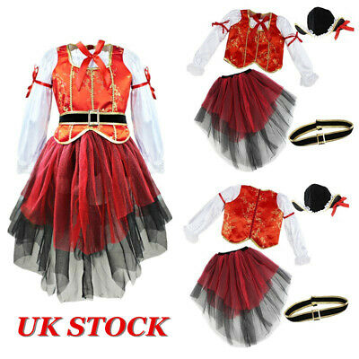 UK Girls Pirate Fancy Dress Costume Cosplay Children Party Outfit Tops Skirt Hat • 6.69£