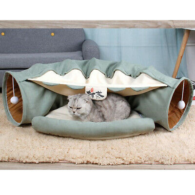 £24.06 • Buy Cat Play Tunnel Collapsible Pop-up Pet Tube Hideaway Play Toy With Bed - Matcha