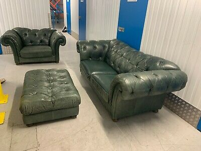 Chesterfield 3 Piece Suite - Green Leather • 200£