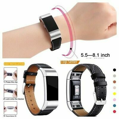 AU28.39 • Buy Leather Strap Band For Fitbit Charge 2 Replacement Wristband + Metal Connectors