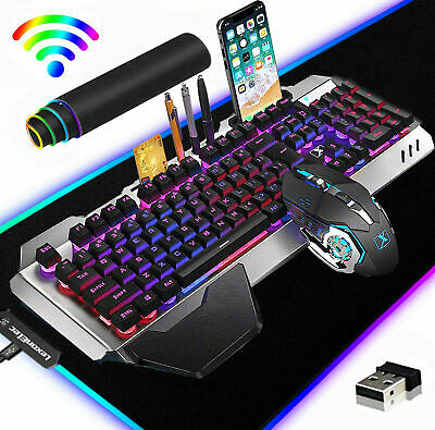 AU86.89 • Buy AU Wireless RGB Backlit Gaming Keyboard Mouse And Mice Pad Combo Mechanical Feel