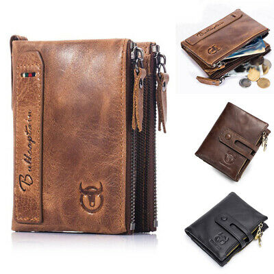 AU27.59 • Buy Mens Wallet Small Rfid Blocking Zip Leather Credit Card Holder Coin Purse Black
