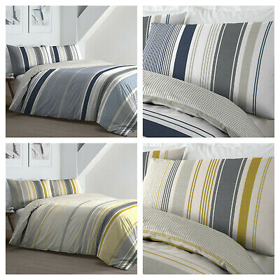 £19.49 • Buy Fusion - Falmouth Nautical Stripes Duvet Quilt Cover Bedding Set - NAVY OR OCHRE