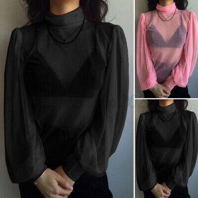 £6.97 • Buy Womens Sexy High Neck Long Sleeve Tops See Through Party Shirt Mesh Sheer Blouse