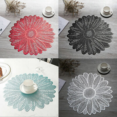 £5.98 • Buy Non Slip PVC Placemats Sunflower Lace Dining Table Place Mat Insulated Pad 39cm