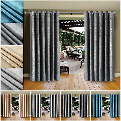 Thermal Blackout Patio Curtains Ring Top Indoor Balcony Bedroom Curtain Tiebacks • 18.99£