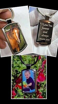 £6.99 • Buy Personalised Metal Keyring Photo Printed.Text Engraved.Gift Box.+cover Protector