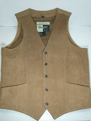 $29.99 • Buy Wrangler Mens Leather Western Cowboy Snap Button Vest Size Small Tan #6007